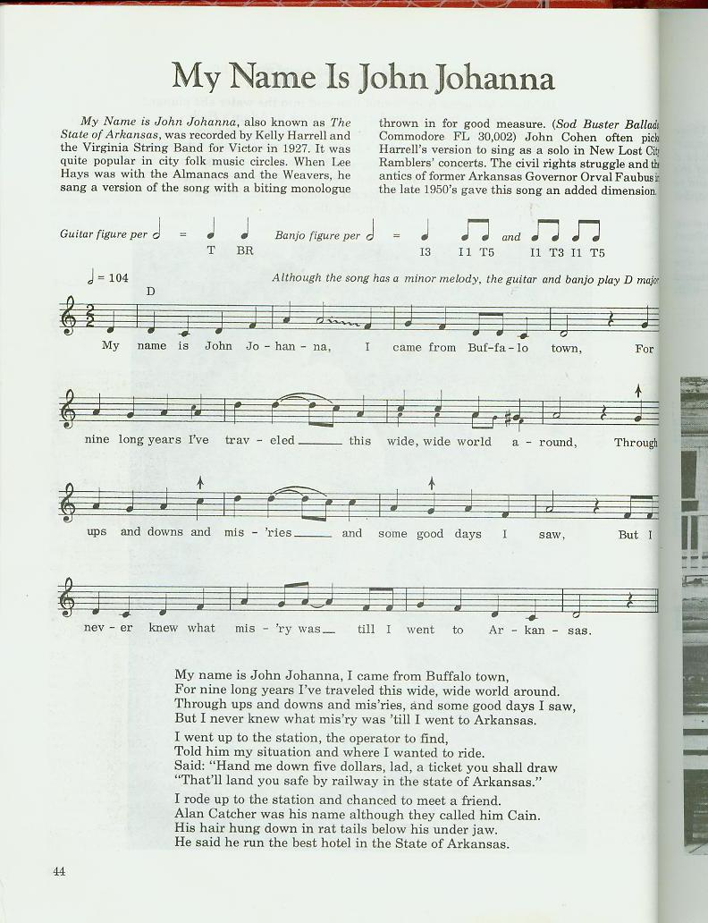 14 my name is john johanna by kelly harrell the virginia the lyrics and the melody are on this two pages hexwebz Image collections